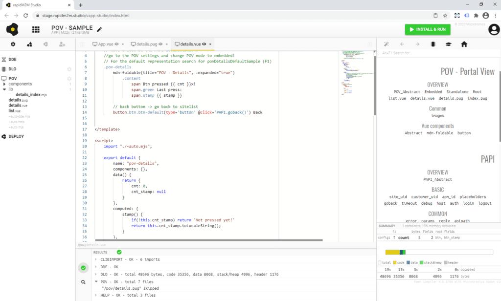 Portal View Beispiel Code im rapidM2M Studio